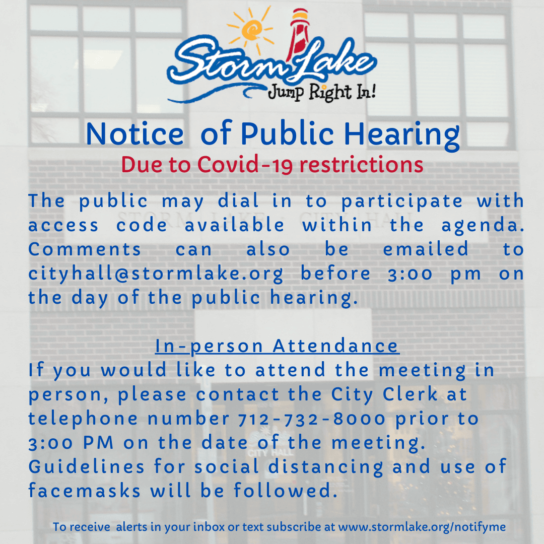 Public hearing participate with access code on agenda or in person